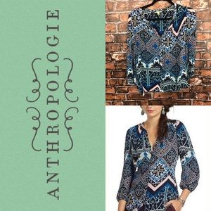 Anthropologie Leifsdottir Silk Colorful Pattern